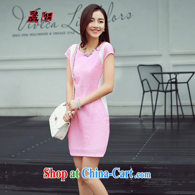 Sung Yang 2015 summer new Korean Beauty round-collar short-sleeve hit color stylish retro dress cheongsam dress the toner XXL