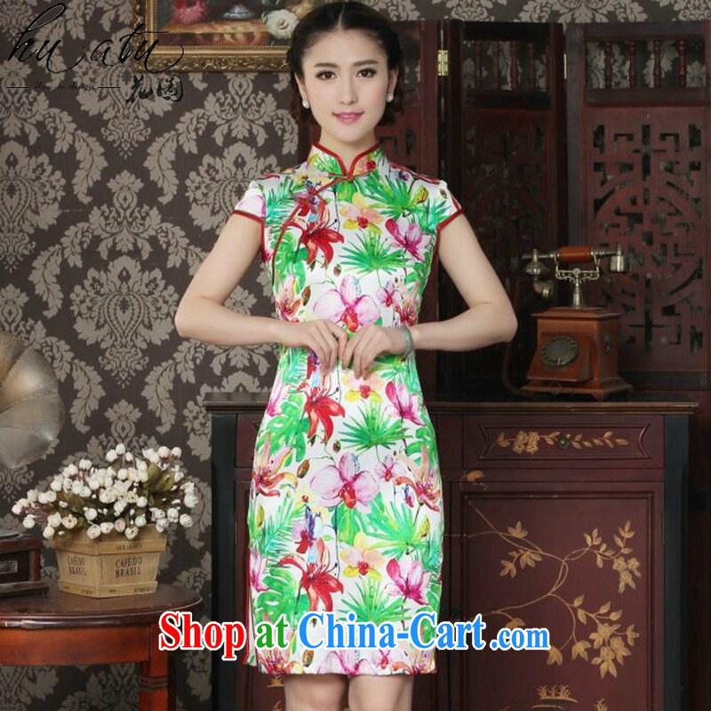 Take the Chinese Silk Cheongsam improved female, dos Santos for silk beautiful summer dresses daily banquet style robes as the color 2 XL