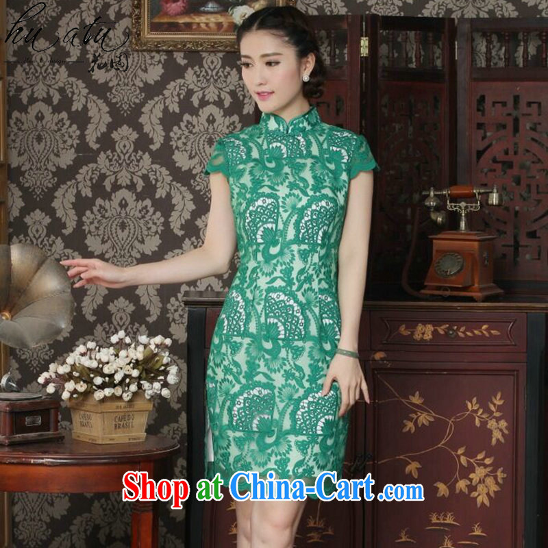 spend the summer new female cheongsam Chinese improved, territorial waters soluble lace stylish beautiful Openwork lace cheongsam dress such as map color XL