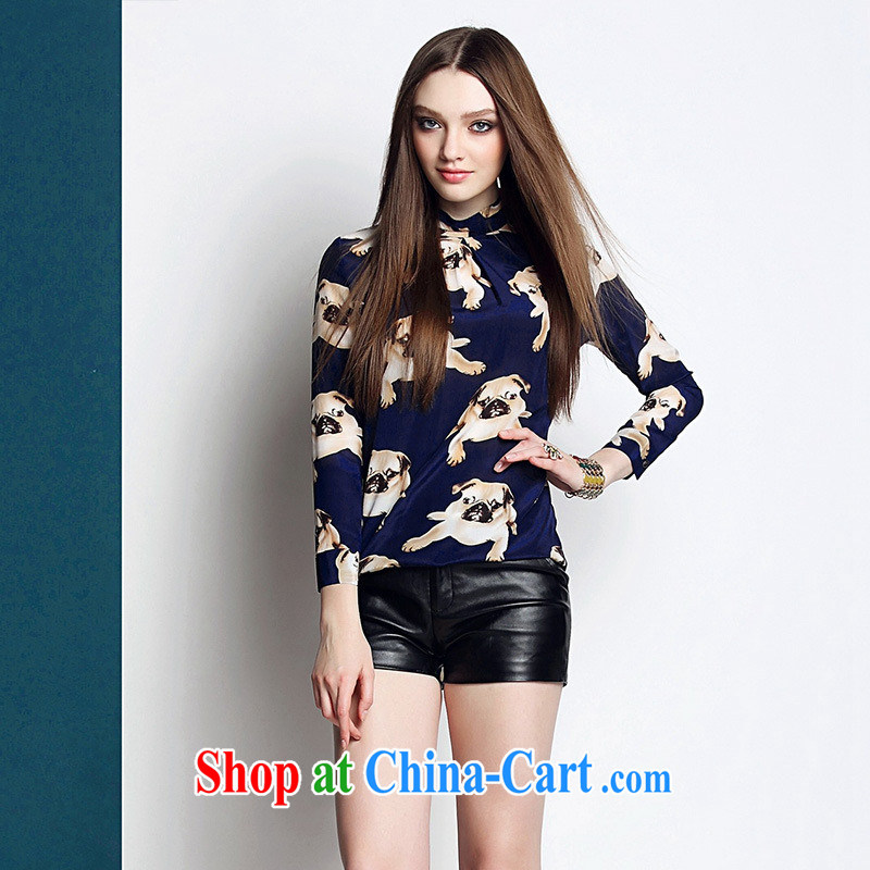 Ya-ting store European site 2015 spring and summer female new round-collar 9 cuffs, long, stamp duty is silk shirt blue XL