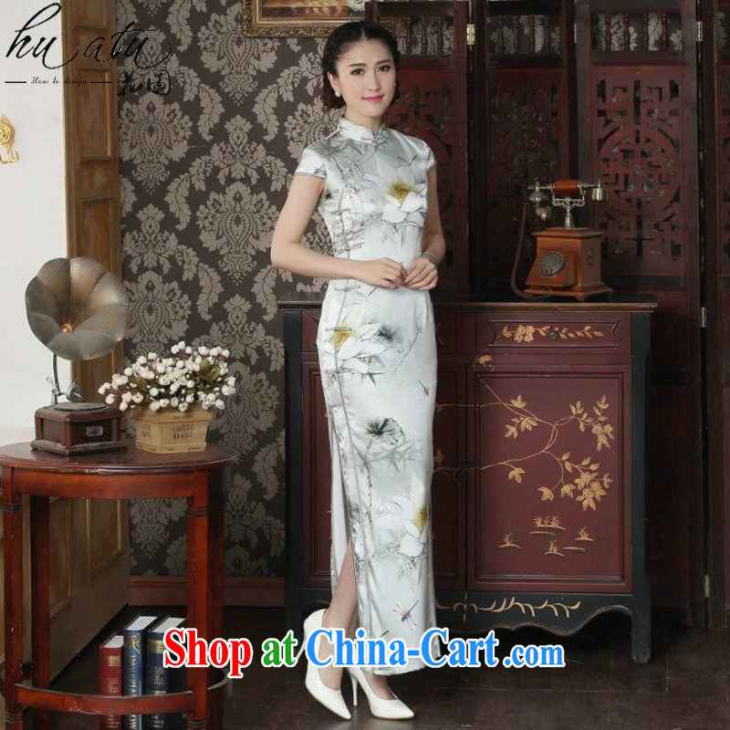 spend the summer new female dinner long cheongsam Lotus Pond sauna Silk Cheongsam silk retro elegant long dresses such as the color 2 XL