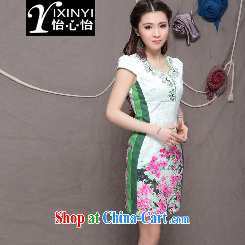 Yi Hsin Yi 2015 embroidered cheongsam high-end Ethnic Wind stylish Chinese qipao dress daily retro beauty graphics build cheongsam Green S