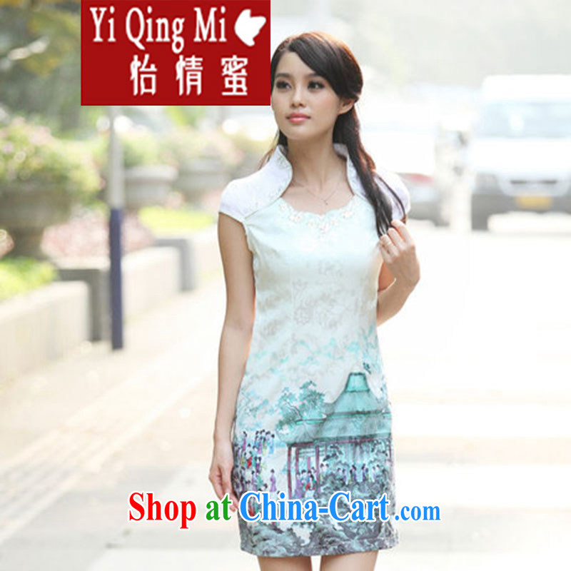 and honey 2015 new summer fashion beauty improved national wind outfit retro dresses cheongsam short Indigo color S