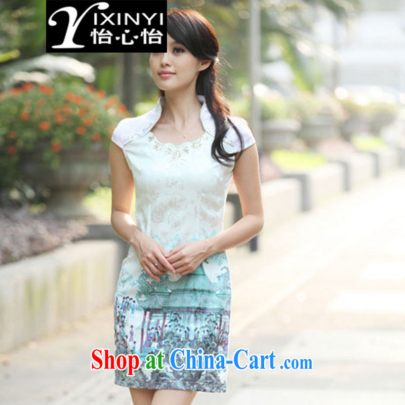 Yi Hsin Yi 2015 new summer fashion beauty improved national wind dresses retro dresses cheongsam short Indigo color S