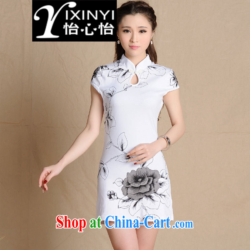 Yi Hsin Yi 2015 National wind painting beauty antique dresses cotton female white XXL