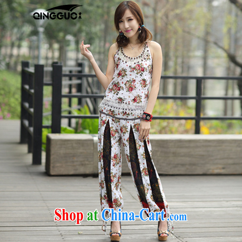 Green fruit 2015 National wind women package summer new small vest pants two-piece 8139 white are code