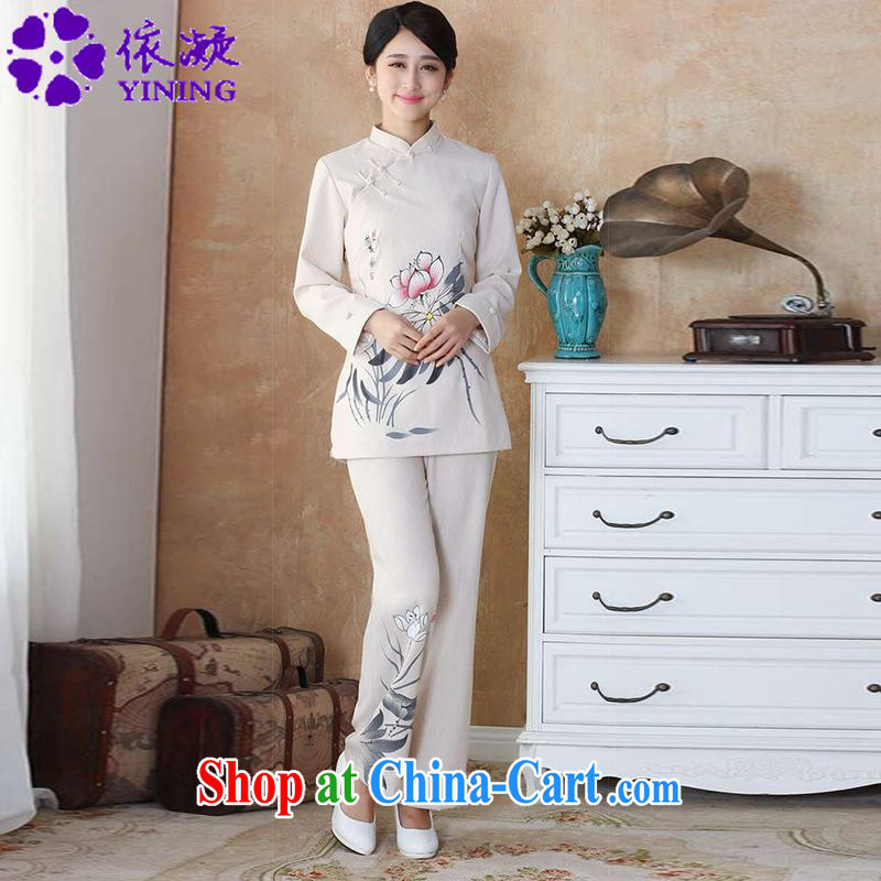 According to fuser stylish new ladies retro improved Chinese qipao, for the hard-pressed the charge-back Sau San Tong boxed kit WNS_2508 - _1 Kit beige 4 XL