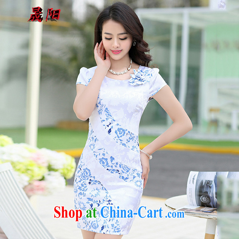Sung Yang 2015 summer new cuff round-collar short-sleeve elegant 100 ground female qipao dresses white XXXL