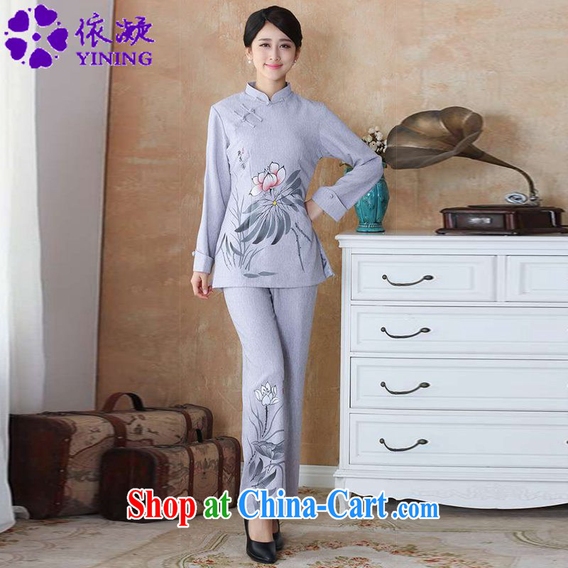 According to fuser spring new female ethnic wind improved Tang replacing the collar hand-painted cultivating long-sleeved T-shirt Chinese package WNS/2508 - 2 #Kit gray 4 XL