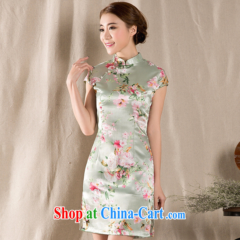 Ladies summer wear new Ethnic Wind stamp duty charge is cultivating cheongsam dress improved Tang replace 2215 fancy XXL