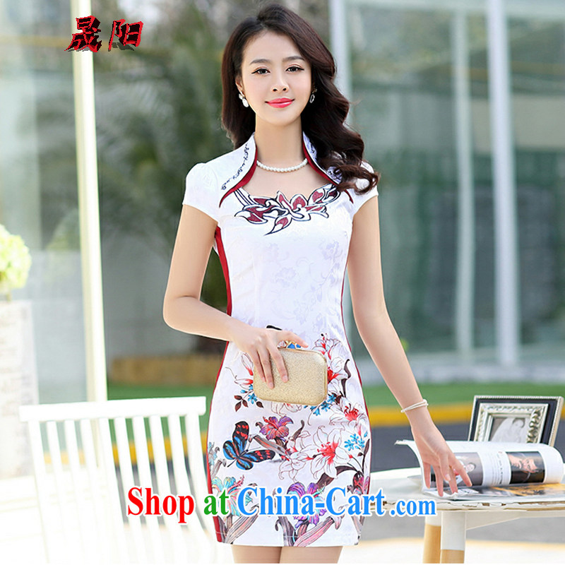 Sung Yang 2015 summer New Beauty video thin stylish fitted for butterfly stamp short sleeve cheongsam dress red M