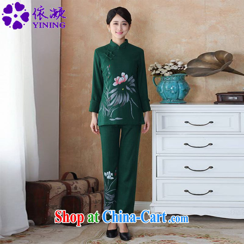 According to fuser stylish new female Ethnic Wind Chinese improved Chinese cotton Ma water and ink stamp Chinese package WNS_2508 - 3 _Kit dark green 4 XL