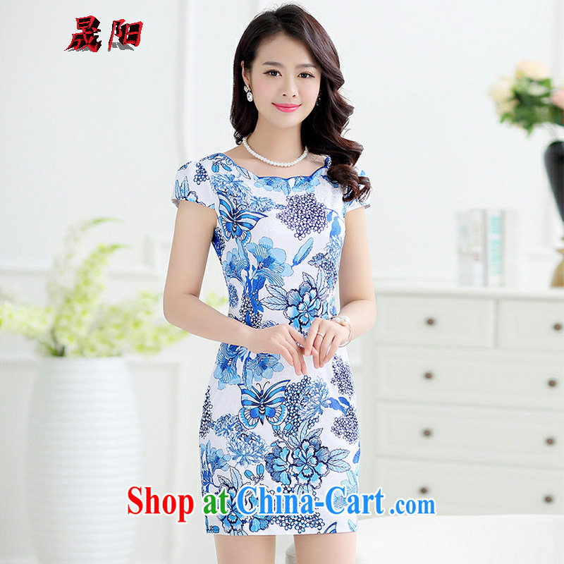 Sung Yang 2015 summer New Beauty video thin comfortable 100 ground and stylish stamp women cheongsam dress royal blue XXL