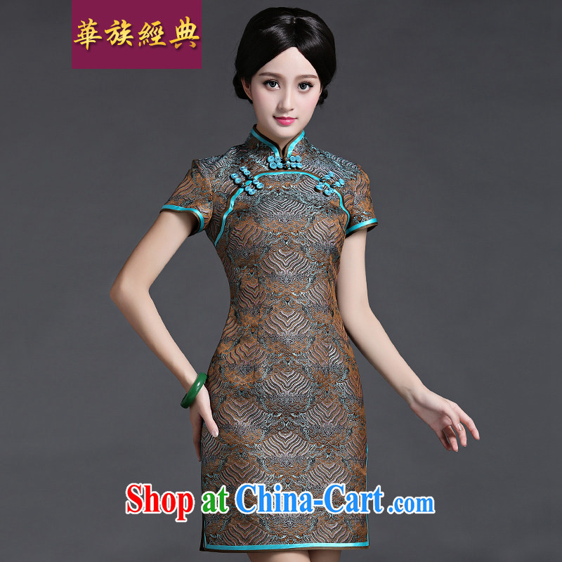 China classic damask high-end Chinese banquet videos, qipao dresses China wind retro improved short XL suit