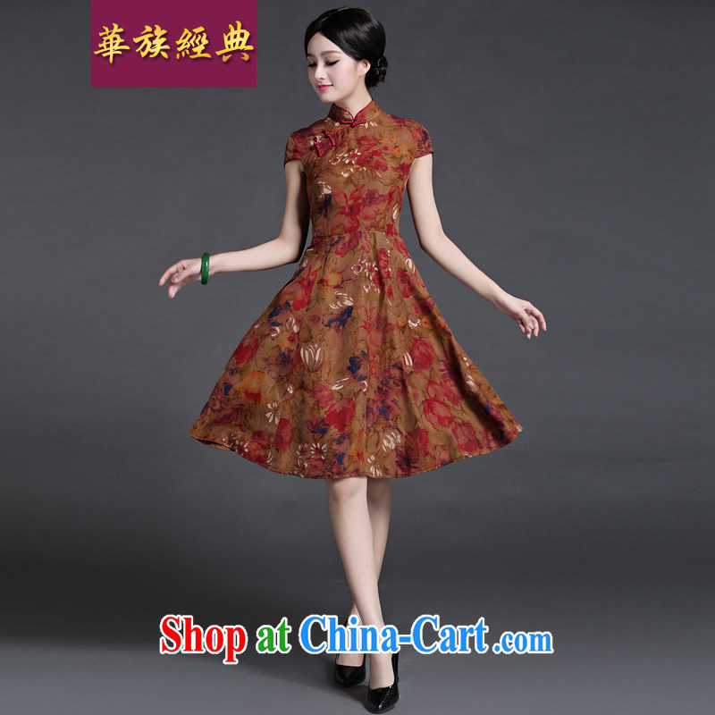 China classic 2015 Chinese classical literature and cultivating silk Ethnic Wind short-sleeved dresses girls summer small fragrant wind suit L