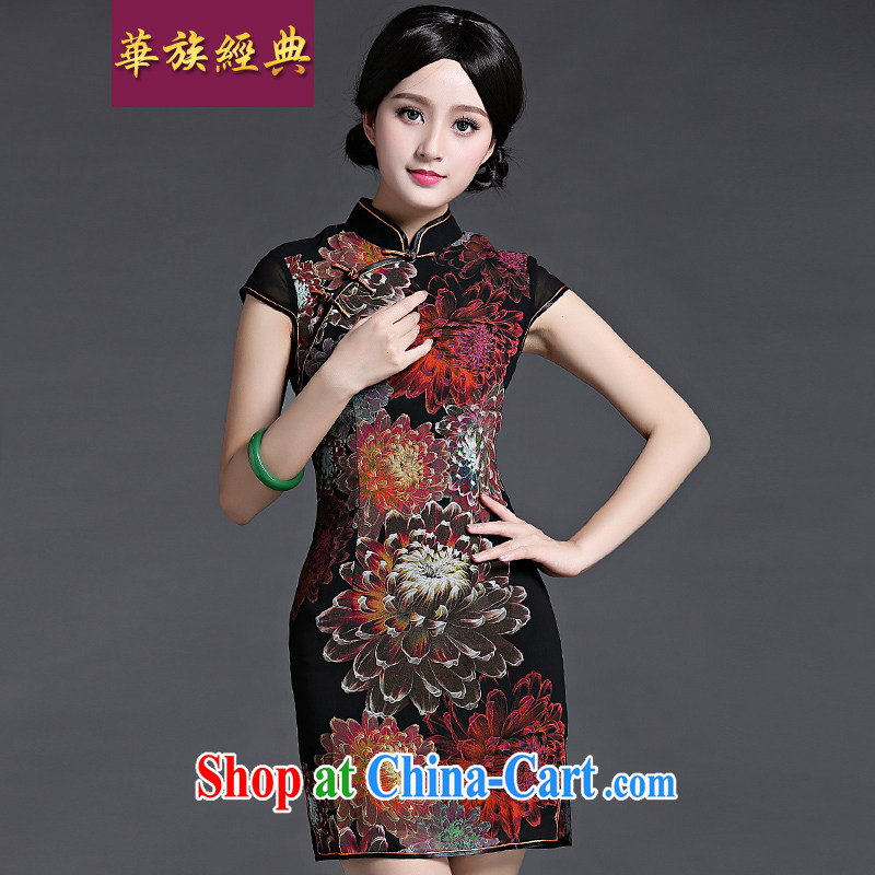 China classic spring and summer short-sleeve double-shoulder dresses, dresses Chinese Antique improved daily video thin short black XL