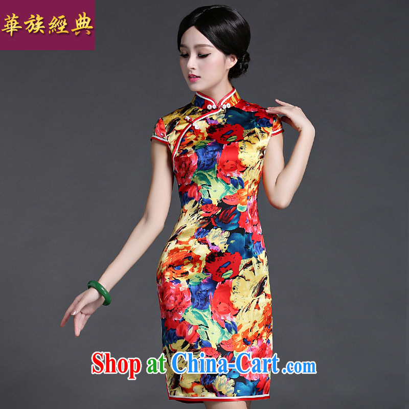 China classic 2015 new dresses Spring Summer Ms. Chinese silk cheongsam dress improved daily short S suit