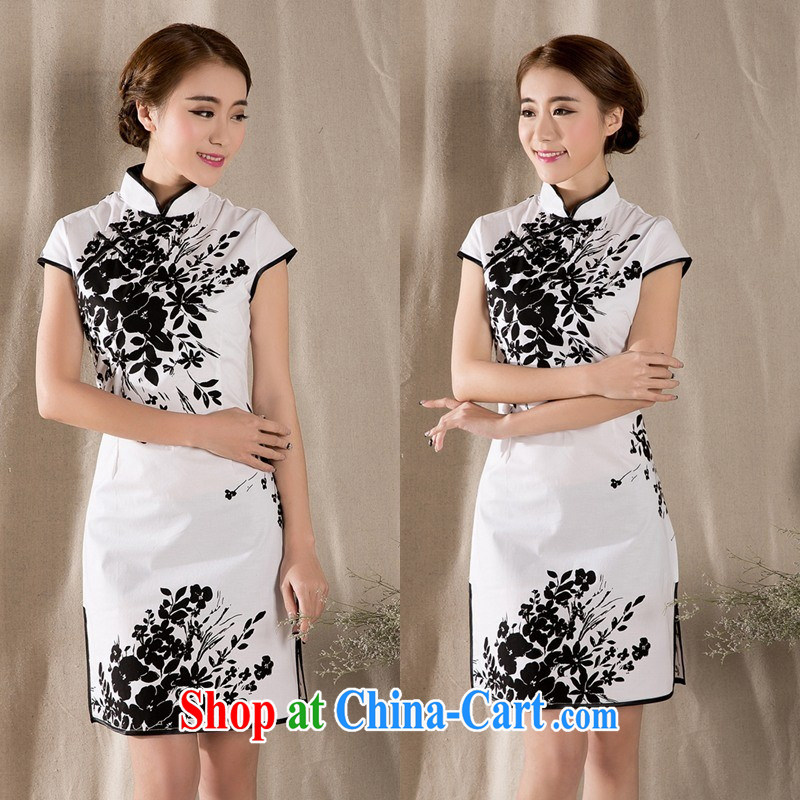 women's clothing 2015 summer new Feng Shui ink stamp outfit package and dresses 2225 white XXL