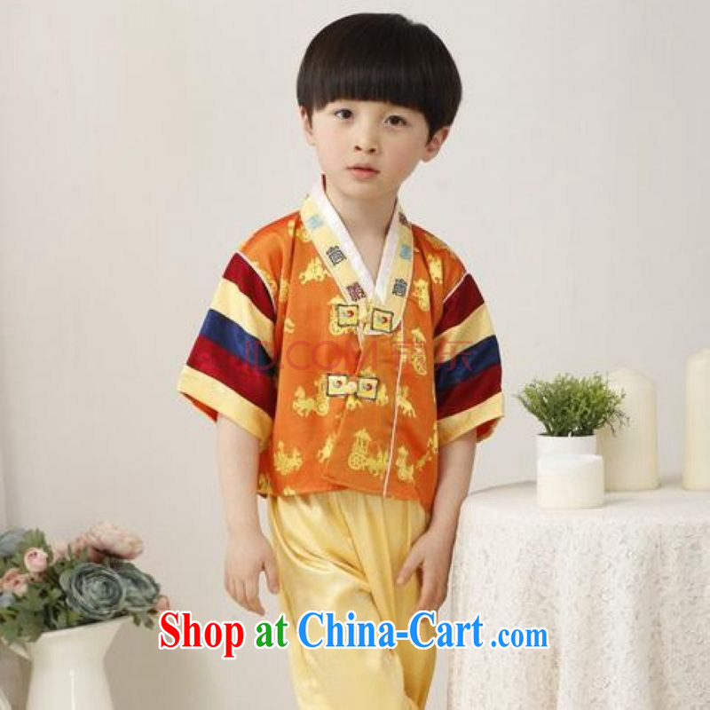 Shanghai, optimize purchase children's Chinese qipao,two-piece children's Chinese package men's long this exercise clothing yellow height 130 CM