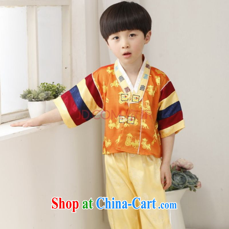 On Shanghai and optimize purchase children's Chinese qipao two-piece children's Tang mounted kit and replace the long this exercise clothing yellow height 130 CM, Shanghai, optimize, and shopping on the Internet