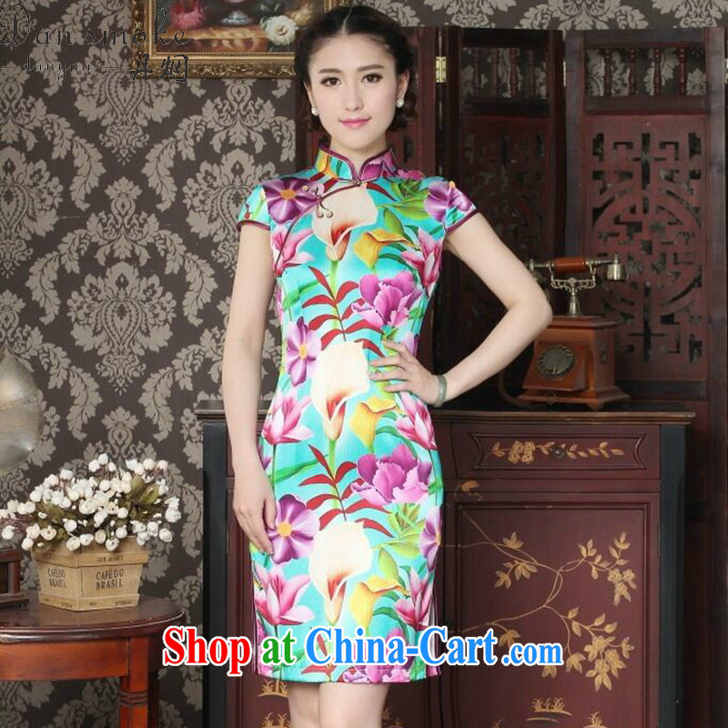 Dan smoke female summer, new Silk Cheongsam fashion cheongsam Chinese improved, DOS SANTOS for Silk Cheongsam banquet figure color XL