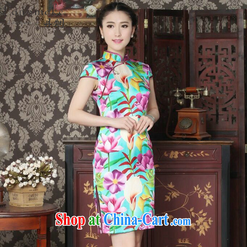 Dan smoke female summer, new Silk Cheongsam fashion cheongsam Chinese improved, DOS SANTOS for Silk Cheongsam banquet figure color XL, Bin Laden smoke, shopping on the Internet