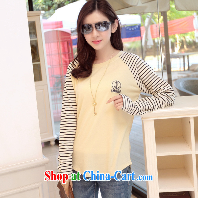 Rachel Deloitte Touche Tohmatsu Deloitte Touche Tohmatsu store sunny store 2015 spring loaded solid Korean stripes stitching cultivating long-sleeved top, pure cotton T-shirt yellow XXL (141 - 160 Jack through)