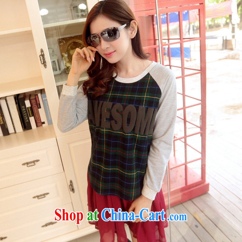 Rachel Deloitte Touche Tohmatsu Deloitte Touche Tohmatsu store sunny store 2015 spring new Korean loose the code the shoulder cuff T tartan shirt Blue and Green Grid XXL 135 - 150 Jack through)