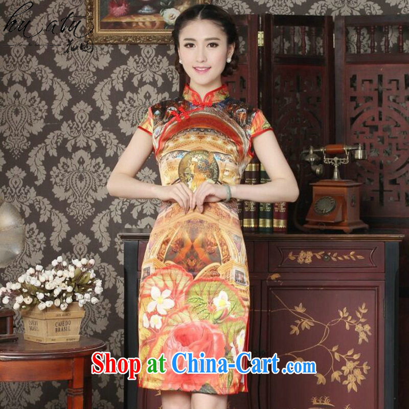Take the Silk Cheongsam summer new female Chinese, for improved stylish dresses in Europe daily banquet dresses such as the color M