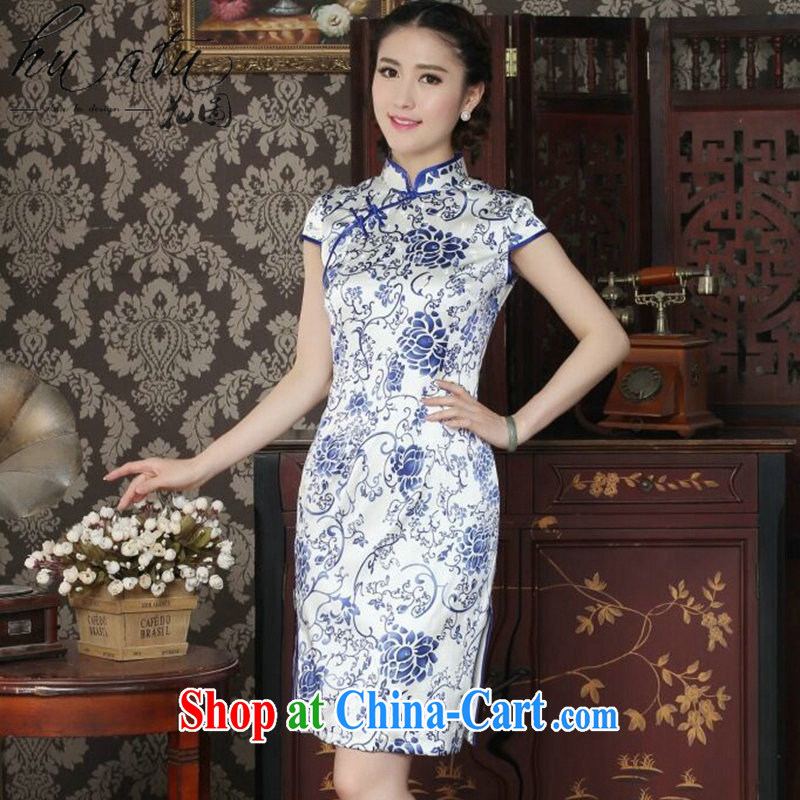 Take the silk cheongsam dress summer Chinese qipao, for daily banquet antique porcelain was sauna Silk Cheongsam blue and white porcelain 2 XL