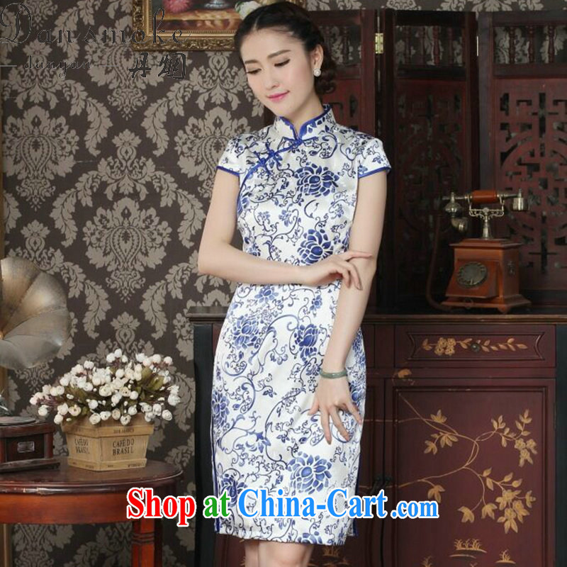 Dan smoke Silk Cheongsam dress summer Chinese qipao, for daily banquet retro blue and white porcelain, Silk Cheongsam as color 2XL