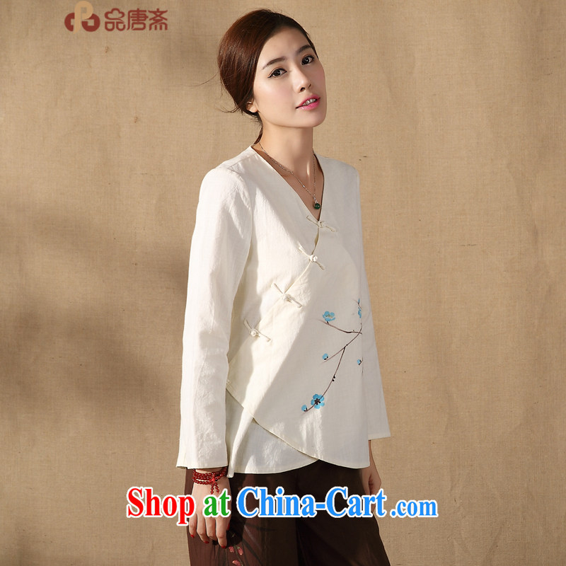 Mr Henry Tang, Id al-Fitr 2015 female Chinese T-shirt spring new long-sleeved Ethnic Wind improved Han-apricot M
