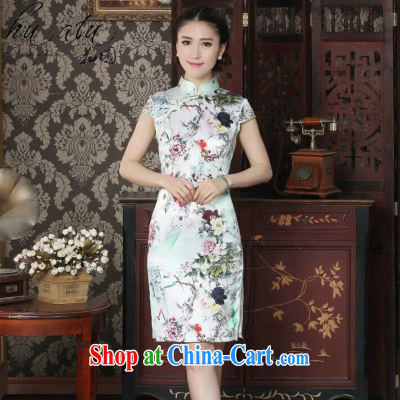 Take the female cheongsam Silk Cheongsam Chinese improved, for summer is manually switched back stylish sauna Silk Cheongsam as color 2XL