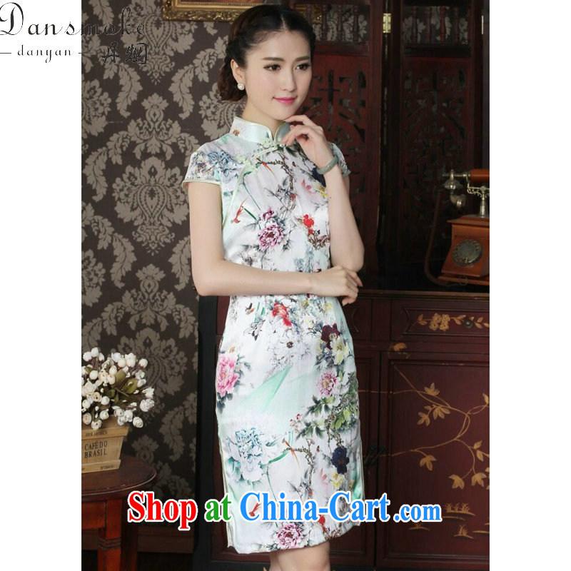 Dan smoke female cheongsam Silk Cheongsam Chinese improved, for summer is manually switched back stylish sauna Silk Cheongsam as color 2XL, Bin Laden smoke, shopping on the Internet