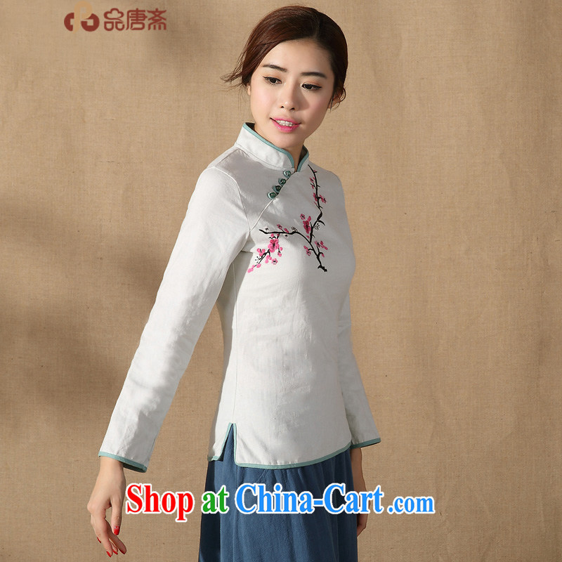 Mr Henry Tang, Ramadan 2015 spring new cotton the Chinese Chinese Ms. Shen Long-sleeved improved Han-robes T-shirt light gray XXL