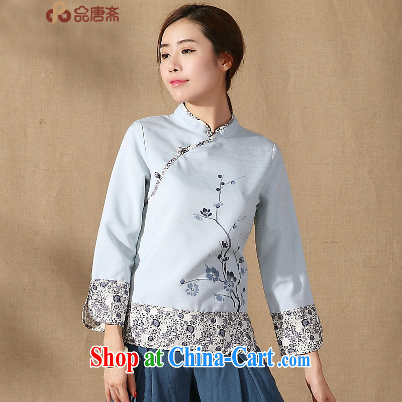 Mr Henry Tang, Ramadan 2015 spring new Chinese, Chinese clothing, for improved long-sleeved clothing, qipao T-shirt light blue XXL
