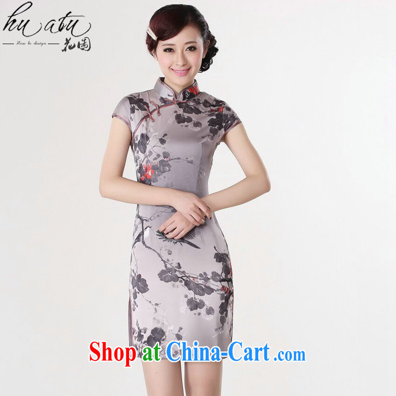 spend the summer dresses Women's clothes Chinese improved version, for a tight flower water ink printing and dyeing short dresses such as the color 2 XL