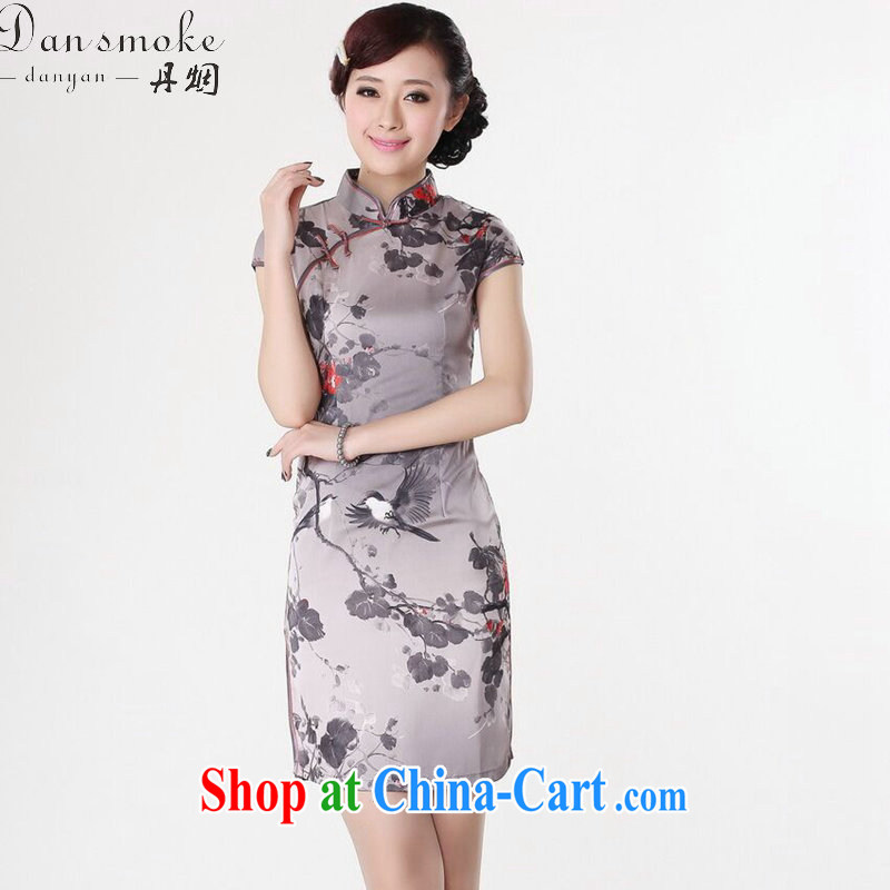 Dan smoke summer dresses Women's clothes Chinese improved version, for a tight flower water ink printing and dyeing short cheongsam as color 2XL