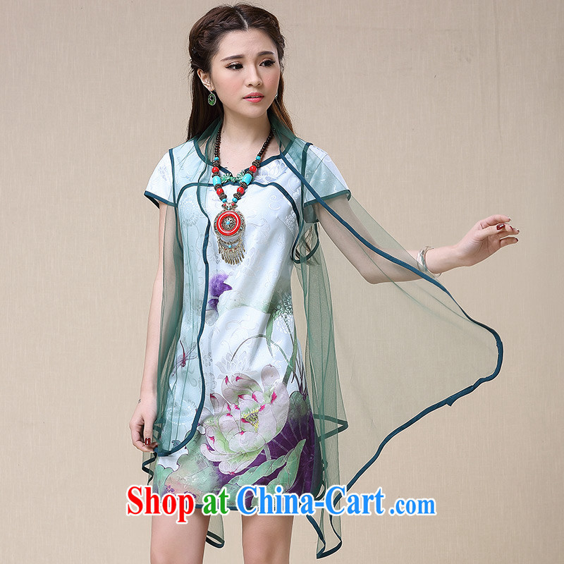Regalia Serviced woven 2015 spring and summer girls dresses Ethnic Wind cultivating Lotus stamp dresses qipao Web yarn two-piece skirt China wind antique dresses light green L