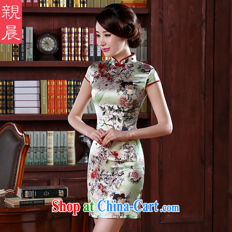 pro-am 2015 New Silk Cheongsam spring and summer is short, short-sleeved female sauna Silk Dresses daily dress improved stylish short 3 XL