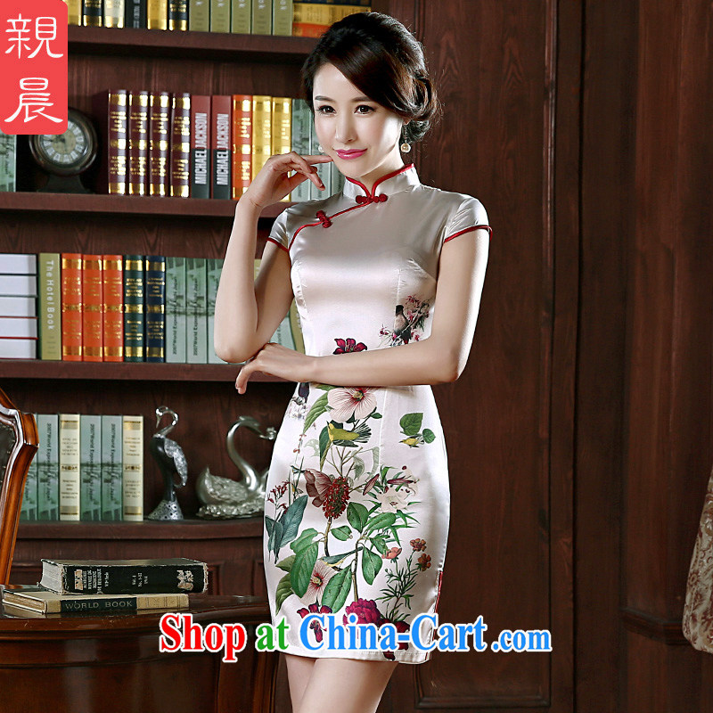 pro-am 2015 New Silk Cheongsam dress spring and summer short dos Santos, silk dresses daily dress improved stylish short XL