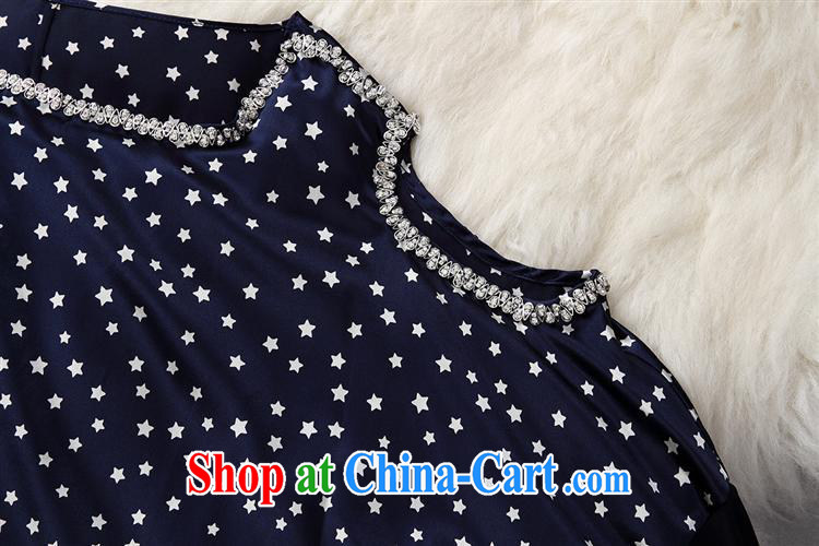 Black butterfly 2015 spring and summer new female stars nail Pearl inserts drill silk covered shoulders, long bat sleeves T-shirt T-shirt loose blue XL pictures, price, brand platters! Elections are good character, the national distribution, so why buy now enjoy more preferential! Health