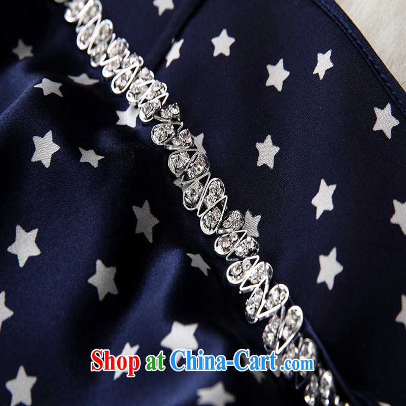 Black butterfly 2015 spring and summer new female stars nail Pearl inserts drill silk covered shoulders, long bat sleeves T-shirt T-shirt loose blue XL, A . J . BB, shopping on the Internet