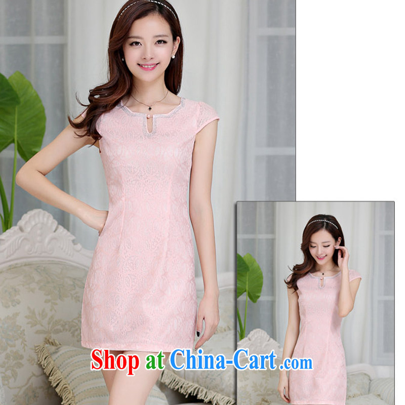 2015 dresses, long, short wave with short-sleeved beauty retro improved cheongsam dress Spring Summer China wind embroidered blue M