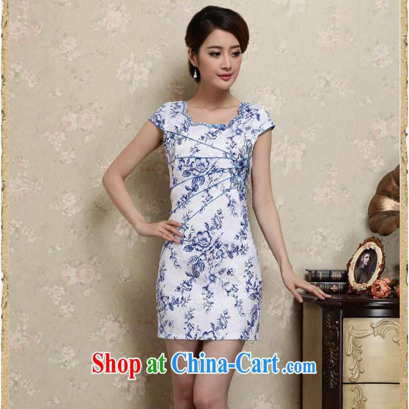 2015 spring and summer with new retro style improved dress daily short beauty dresses girls video thin blue XXL