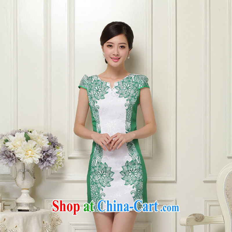 2015 summer cotton stylish improved temperament dresses retro blue and white porcelain beauty stamp V collar dresses green M