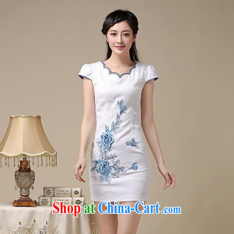 Summer 2015 new embroidery cheongsam dress girls improved daily package and a short-sleeved-stamp duty waist cheongsam dress girls blue floral XL