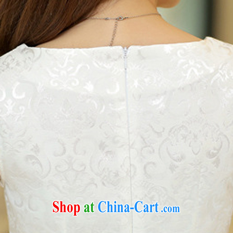 2015 new summer short-sleeved V collar dresses Ethnic Wind embroidery cheongsam beauty picture color XL, domino-hee, shopping on the Internet