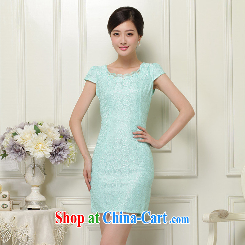 2015 new spring and summer dresses lace cheongsam improved dress Openwork hook flower embroidery daily outfit green L