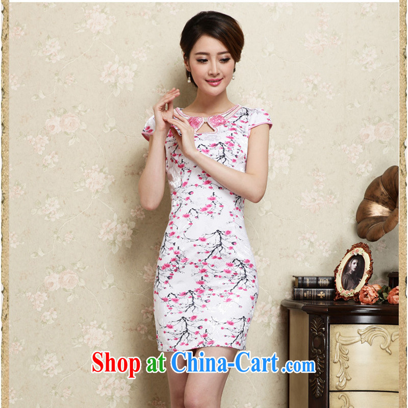 2015 new short summer decoration, daily improved stylish dress skirt retro style dresses of red S